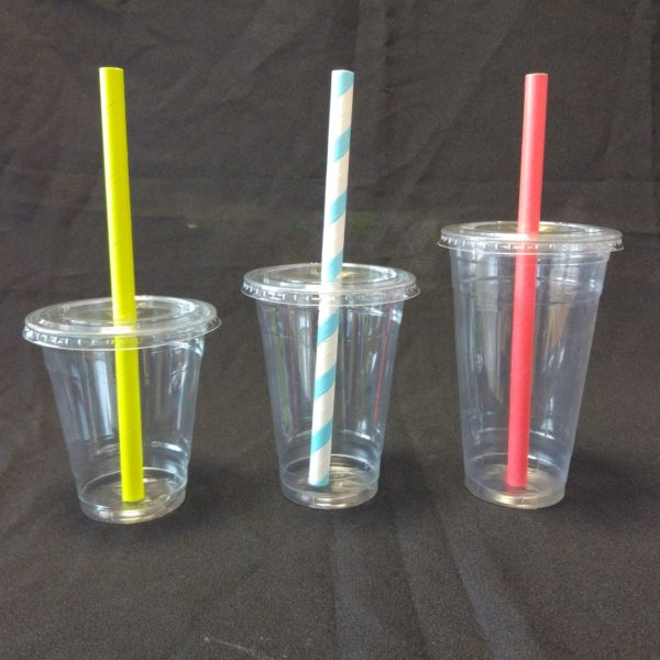 PET Flat Straw Slot Lids